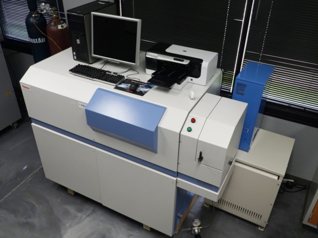 Steel and other materials analyzed in optical emission spectroscopy.