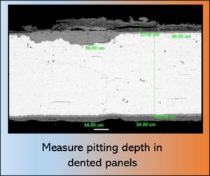 Measure pitting depth in dented panels