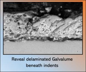 Reveal delaminated Galvalume beneath indents